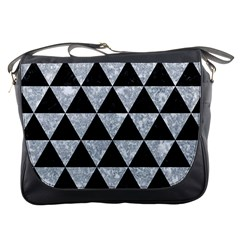 Triangle3 Black Marble & Gray Marble Messenger Bag by trendistuff