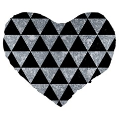 Triangle3 Black Marble & Gray Marble Large 19  Premium Flano Heart Shape Cushion by trendistuff