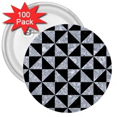 Triangle1 Black Marble & Gray Marble 3  Button (100 Pack) by trendistuff