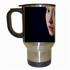 Girl With A Pearl Earring Travel Mugs (white) by ArtMuseum