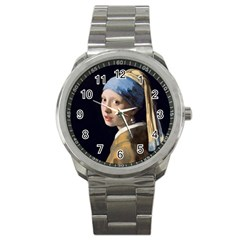 Girl With A Pearl Earring Sport Metal Watch by ArtMuseum