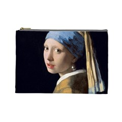 Girl With A Pearl Earring Cosmetic Bag (large)  by ArtMuseum