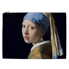 Girl With A Pearl Earring Cosmetic Bag (xxl)  by ArtMuseum