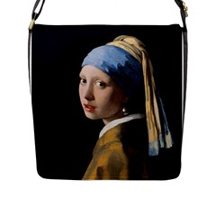 Girl With A Pearl Earring Flap Messenger Bag (l)  by ArtMuseum