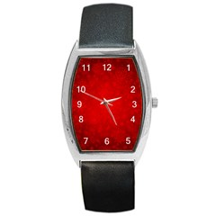 Decorative Red Christmas Background With Snowflakes Barrel Style Metal Watch by TastefulDesigns