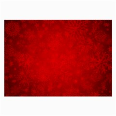 Decorative Red Christmas Background With Snowflakes Large Glasses Cloth by TastefulDesigns