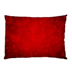Decorative Red Christmas Background With Snowflakes Pillow Case (two Sides) by TastefulDesigns