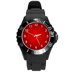 Decorative Red Christmas Background With Snowflakes Round Plastic Sport Watch (l) by TastefulDesigns