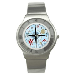 Compass Stainless Steel Watch by Valentinaart