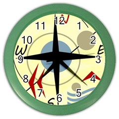 Compass 3 Color Wall Clocks by Valentinaart