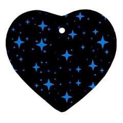 Bright Blue  Stars In Space Ornament (heart)  by Costasonlineshop