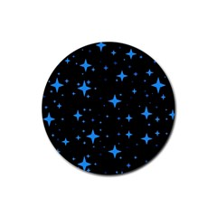 Bright Blue  Stars In Space Rubber Coaster (round)  by Costasonlineshop