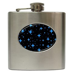 Bright Blue  Stars In Space Hip Flask (6 Oz) by Costasonlineshop