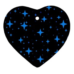 Bright Blue  Stars In Space Heart Ornament (2 Sides) by Costasonlineshop