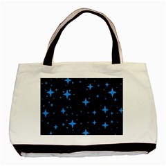 Bright Blue  Stars In Space Basic Tote Bag (two Sides) by Costasonlineshop