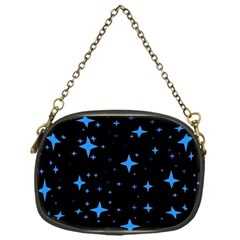 Bright Blue  Stars In Space Chain Purses (one Side)