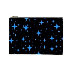 Bright Blue  Stars In Space Cosmetic Bag (large)  by Costasonlineshop