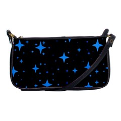 Bright Blue  Stars In Space Shoulder Clutch Bags by Costasonlineshop