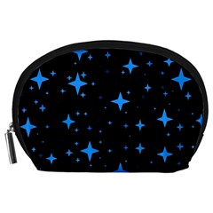 Bright Blue  Stars In Space Accessory Pouches (large)  by Costasonlineshop