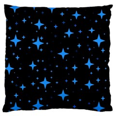 Bright Blue  Stars In Space Large Flano Cushion Case (two Sides) by Costasonlineshop