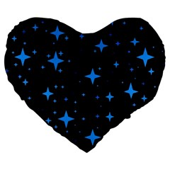 Bright Blue  Stars In Space Large 19  Premium Flano Heart Shape Cushions by Costasonlineshop