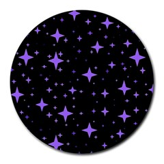 Bright Purple   Stars In Space Round Mousepads by Costasonlineshop