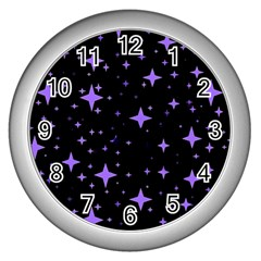 Bright Purple   Stars In Space Wall Clocks (silver)  by Costasonlineshop