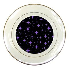 Bright Purple   Stars In Space Porcelain Plates by Costasonlineshop