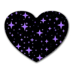 Bright Purple   Stars In Space Heart Mousepads by Costasonlineshop