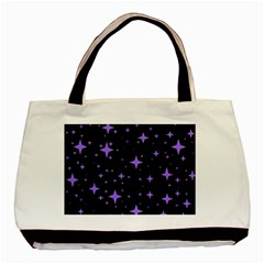 Bright Purple   Stars In Space Basic Tote Bag (two Sides) by Costasonlineshop