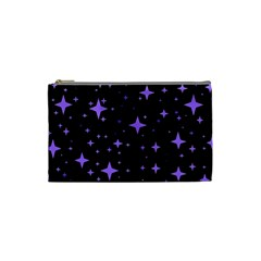 Bright Purple   Stars In Space Cosmetic Bag (small)  by Costasonlineshop