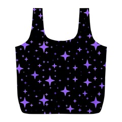 Bright Purple   Stars In Space Full Print Recycle Bags (l)  by Costasonlineshop
