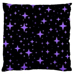 Bright Purple   Stars In Space Large Flano Cushion Case (one Side) by Costasonlineshop