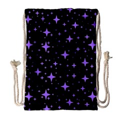 Bright Purple   Stars In Space Drawstring Bag (large) by Costasonlineshop