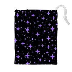Bright Purple   Stars In Space Drawstring Pouches (extra Large) by Costasonlineshop