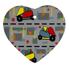 Toy Cars Ornament (heart)  by Valentinaart