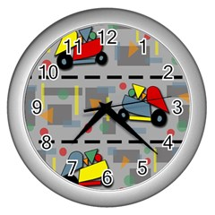 Toy Cars Wall Clocks (silver)  by Valentinaart