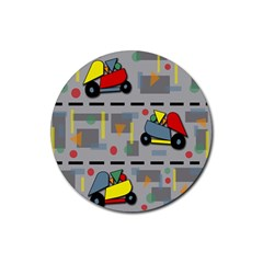 Toy Cars Rubber Coaster (round)  by Valentinaart