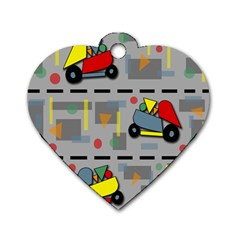 Toy Cars Dog Tag Heart (one Side) by Valentinaart