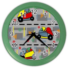 Toy Cars Color Wall Clocks by Valentinaart