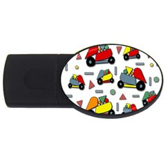 Toy Cars Pattern Usb Flash Drive Oval (2 Gb)  by Valentinaart