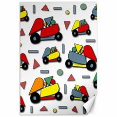 Toy Cars Pattern Canvas 12  X 18   by Valentinaart