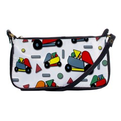 Toy Cars Pattern Shoulder Clutch Bags by Valentinaart