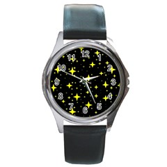 Bright Yellow   Stars In Space Round Metal Watch by Costasonlineshop