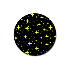 Bright Yellow   Stars In Space Magnet 3  (round) by Costasonlineshop