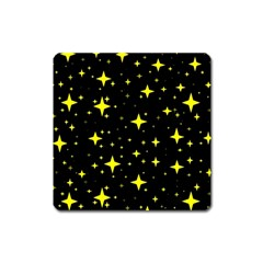 Bright Yellow   Stars In Space Square Magnet by Costasonlineshop