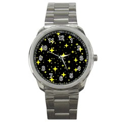 Bright Yellow   Stars In Space Sport Metal Watch by Costasonlineshop