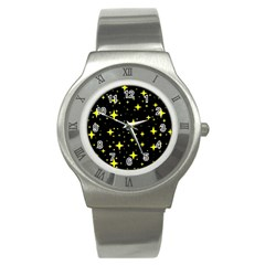 Bright Yellow   Stars In Space Stainless Steel Watch by Costasonlineshop