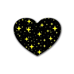 Bright Yellow   Stars In Space Rubber Coaster (heart)  by Costasonlineshop