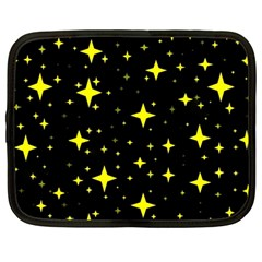 Bright Yellow   Stars In Space Netbook Case (large) by Costasonlineshop
